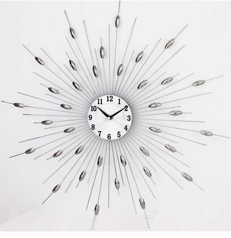 Large Wall Clock 46cm X 46cm Metal Wall Clock Sun Burst Wall Clock Pharmore Clocks Inspiration Metal Wall Clock Interior Design Living Room
