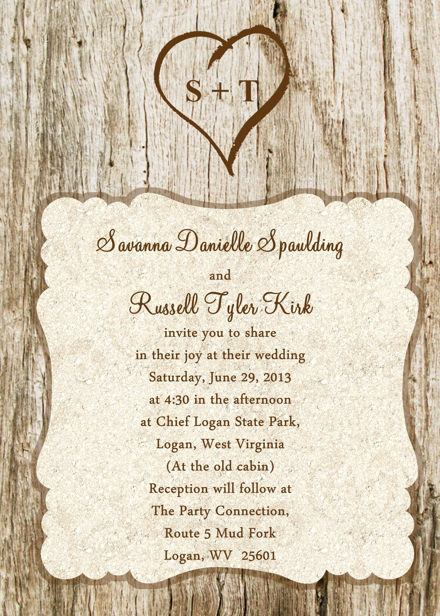 5x7 wedding invitation in wood grain / carved tree theme Contact me ...