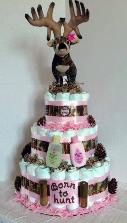 Diaper Cake For A Future Hunter With Images Diaper Cakes Girl