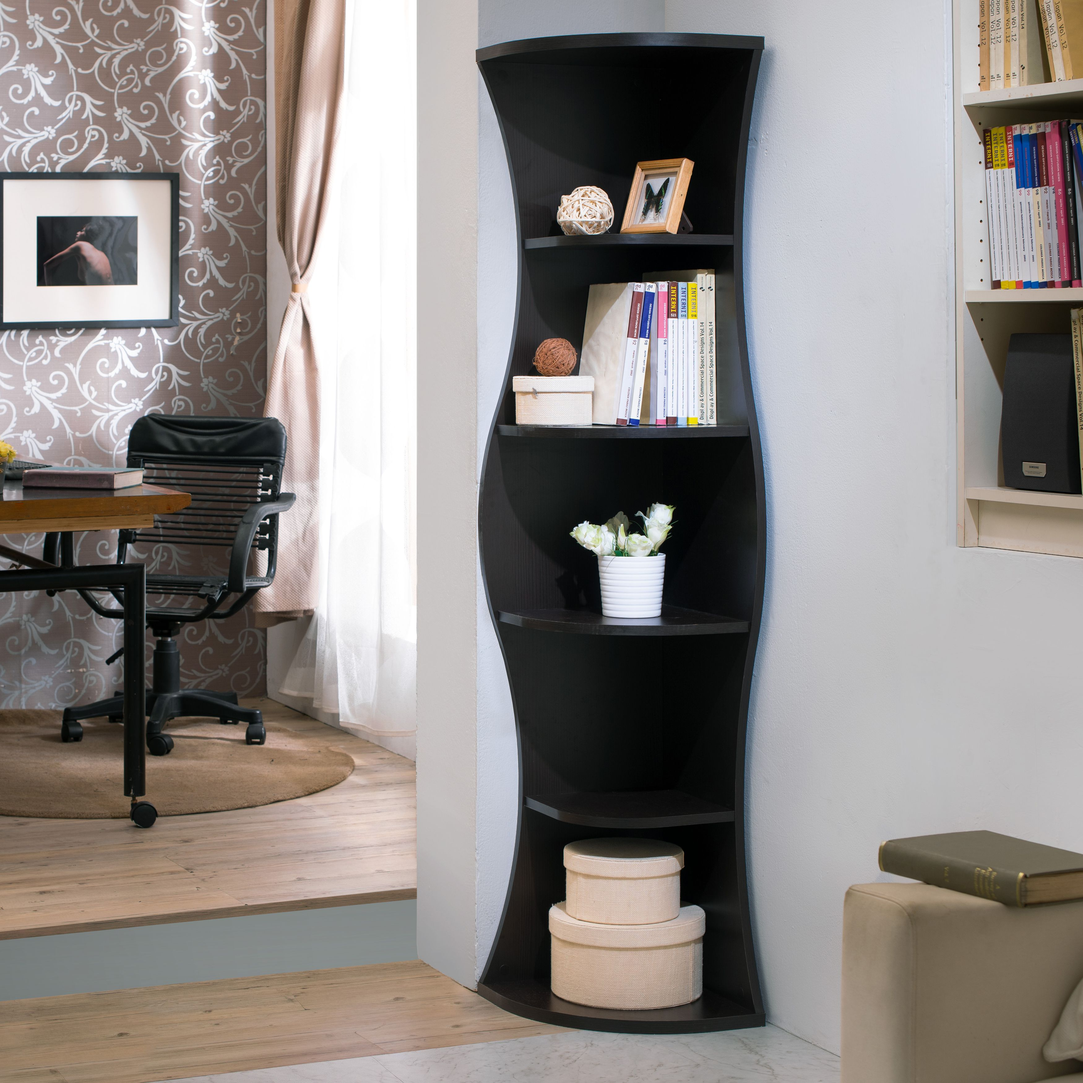 Furniture Of America Cardona Contemporary Corner Bookshelf Brown