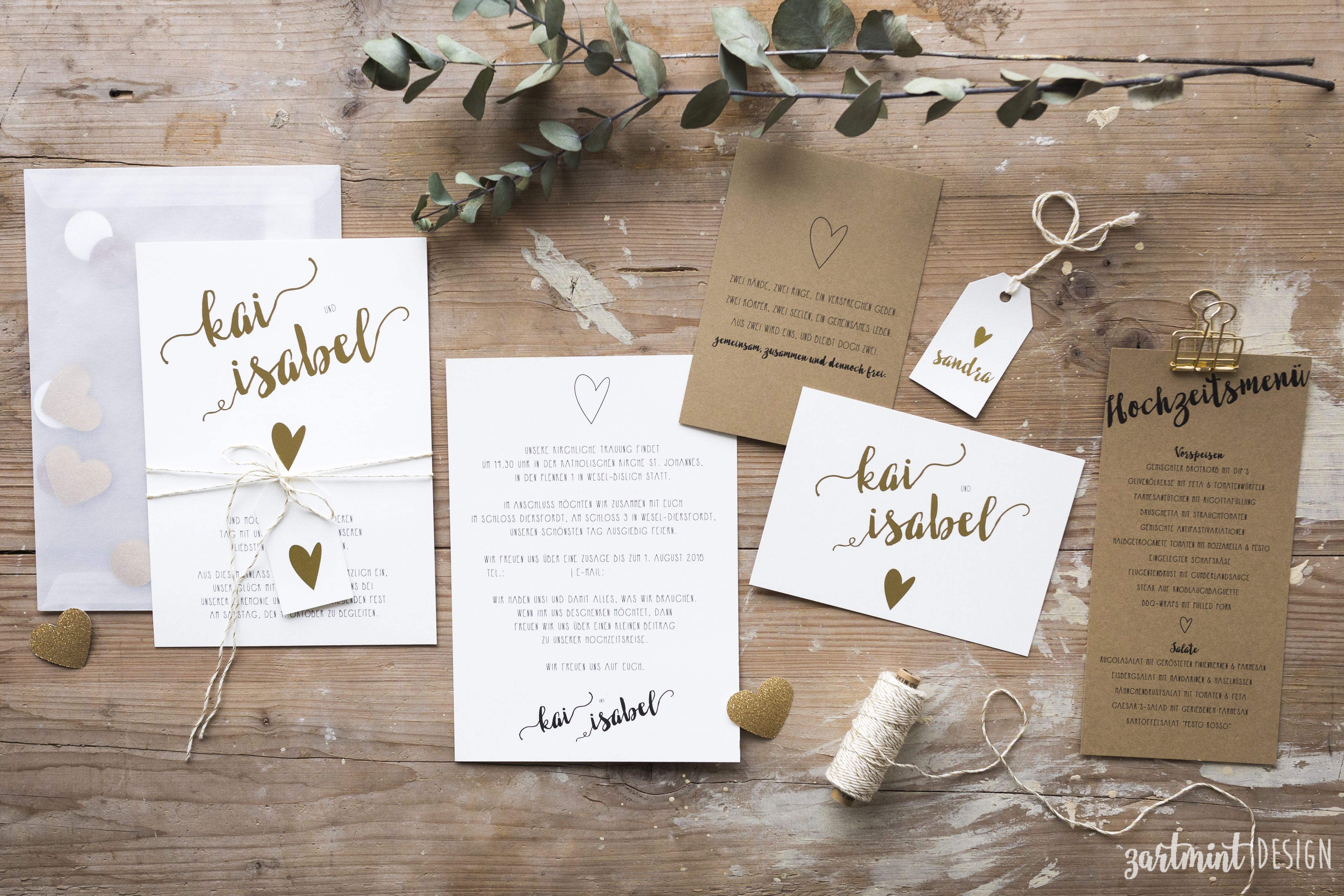 Perfekt Hochzeitspapeterie | Hochzeitseinladung Herz Aus Gold ♥ Heißfolie,  Goldprägung, Goldfolie, Vintage, Hippie, Boho, Zartmint Design, Bonn, Köln,  NRW, ...