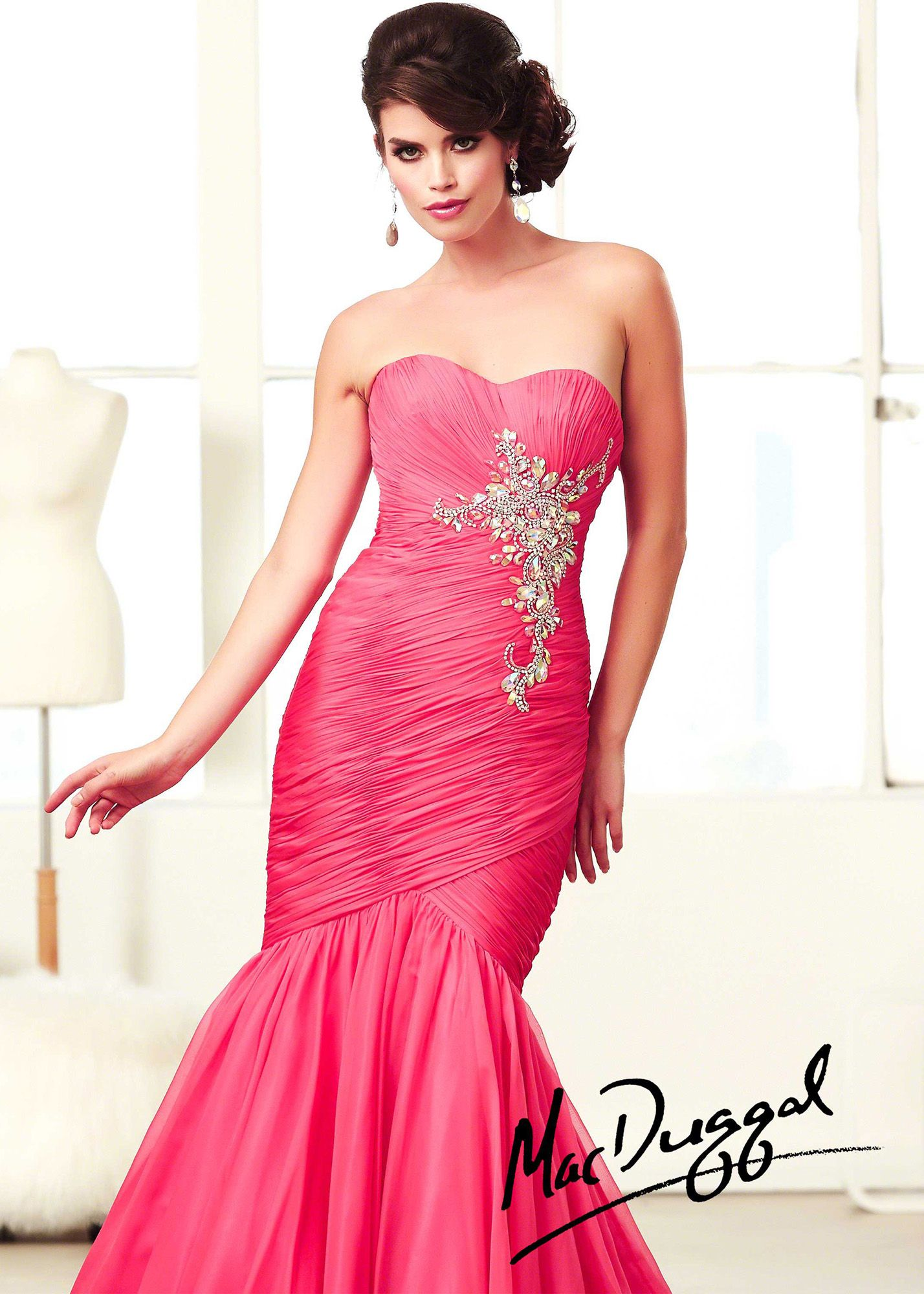 Mac Duggal 64668H - Watermelon Strapless Ruched Prom Dresses Online ...