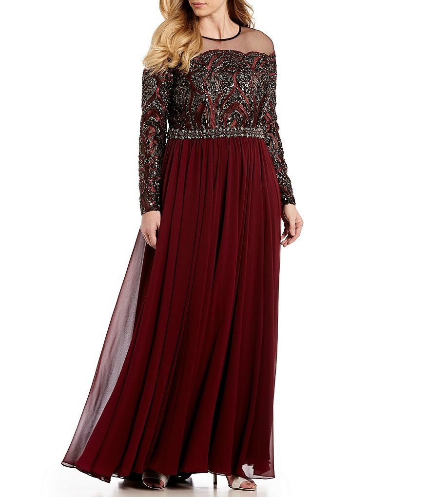 90349865f97 Terani Couture Plus Size Long Sleeve Beaded Bodice Illusion Gown in ...