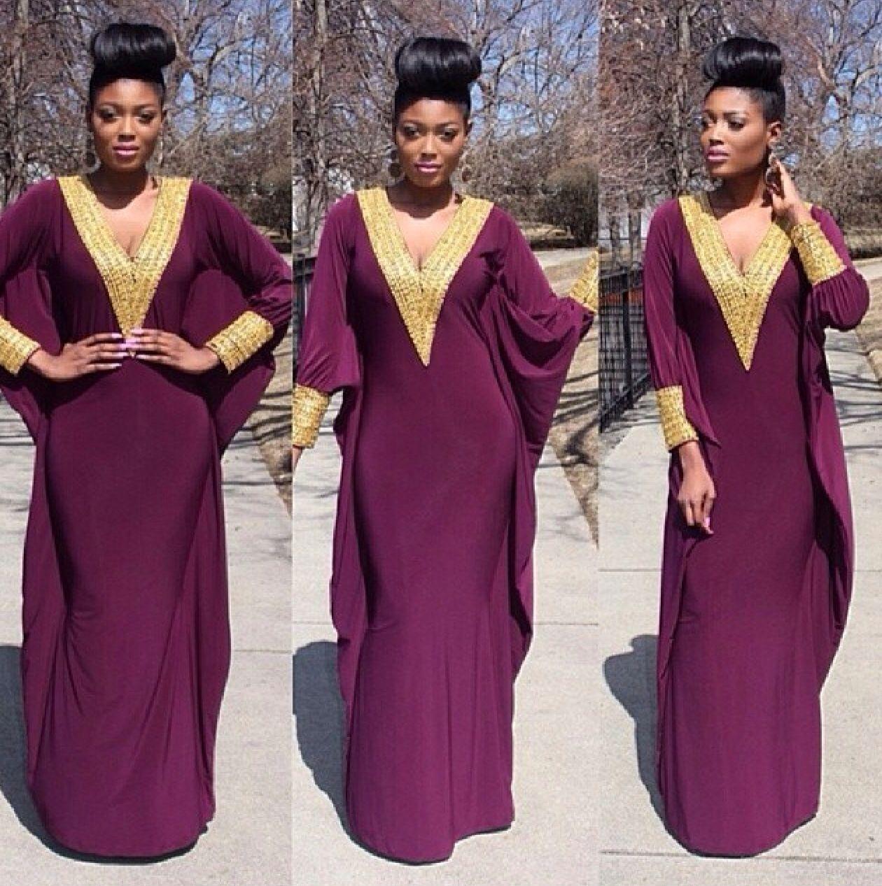 New 2015 Deep V Neck Golden Embellishment Long Sleeves Purple ...