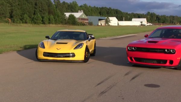 We're converging on the drag strip, 40 minutes or so away, when I finally get someone there on the phone. They're not open, despite what it says on their web site. This presents a problem, because I've got a 2015 Corvette and The Wall Street Journal's Dan Neil has a Dodge Challenger SRT Hellcat—nearly 1,200 horsepower of righteous American thunder, and now no place to use it. But I have a Plan B, and a short while later we're at a rural airport, taxiing down the access road and lining up for…