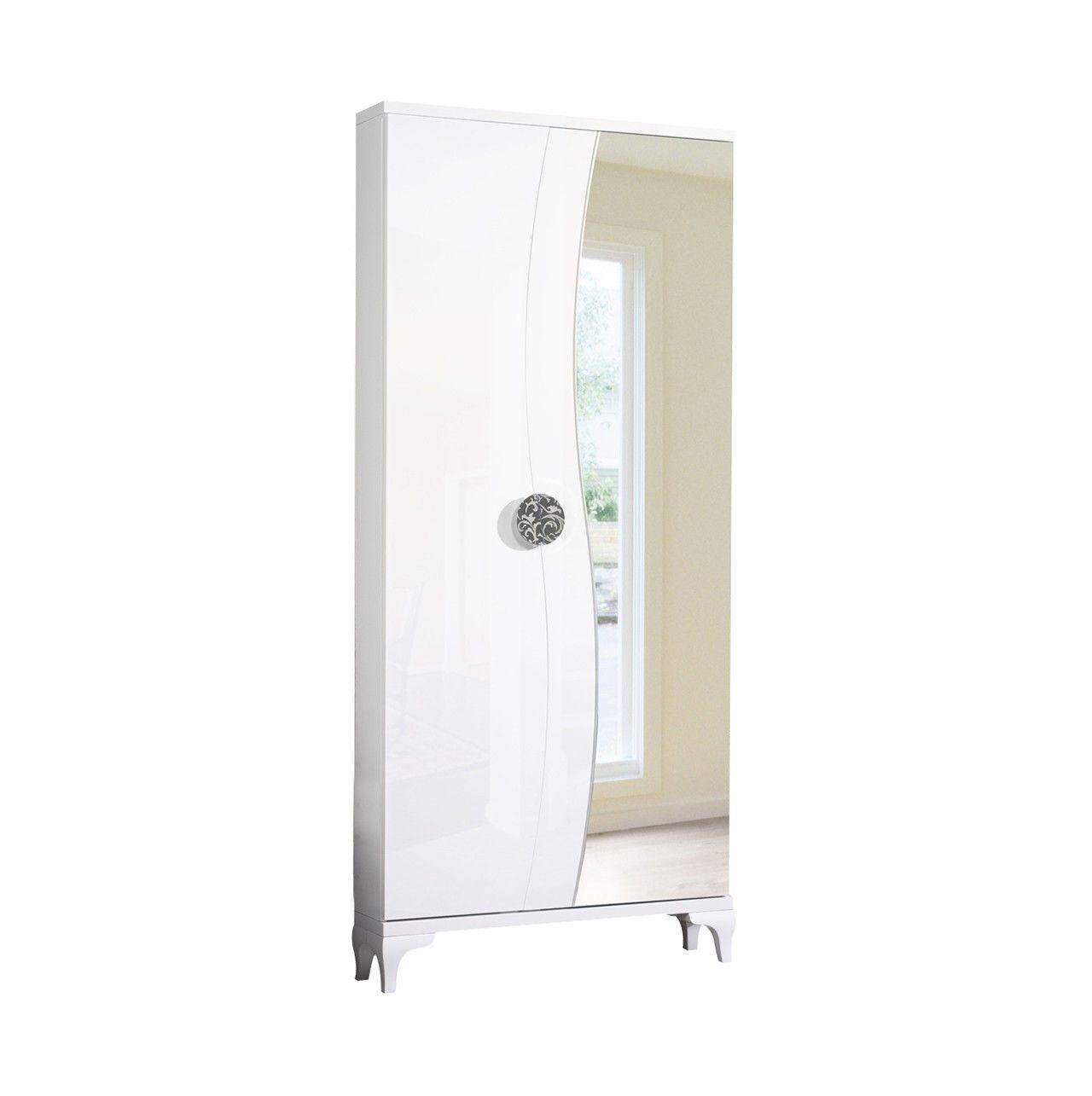 Zapatero vestidor con 2 puertas una de ellas de espejo for Mueble zapatero esquinero