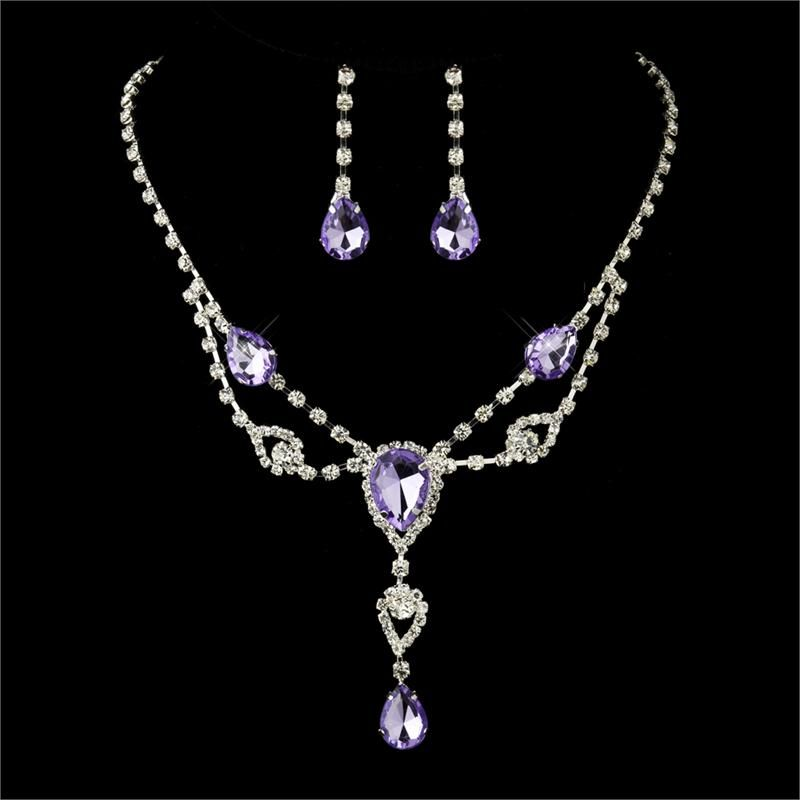 Necklace Set Light Amethyst Rhinestone And Earrings Bridal Bridesmaids Jewelry