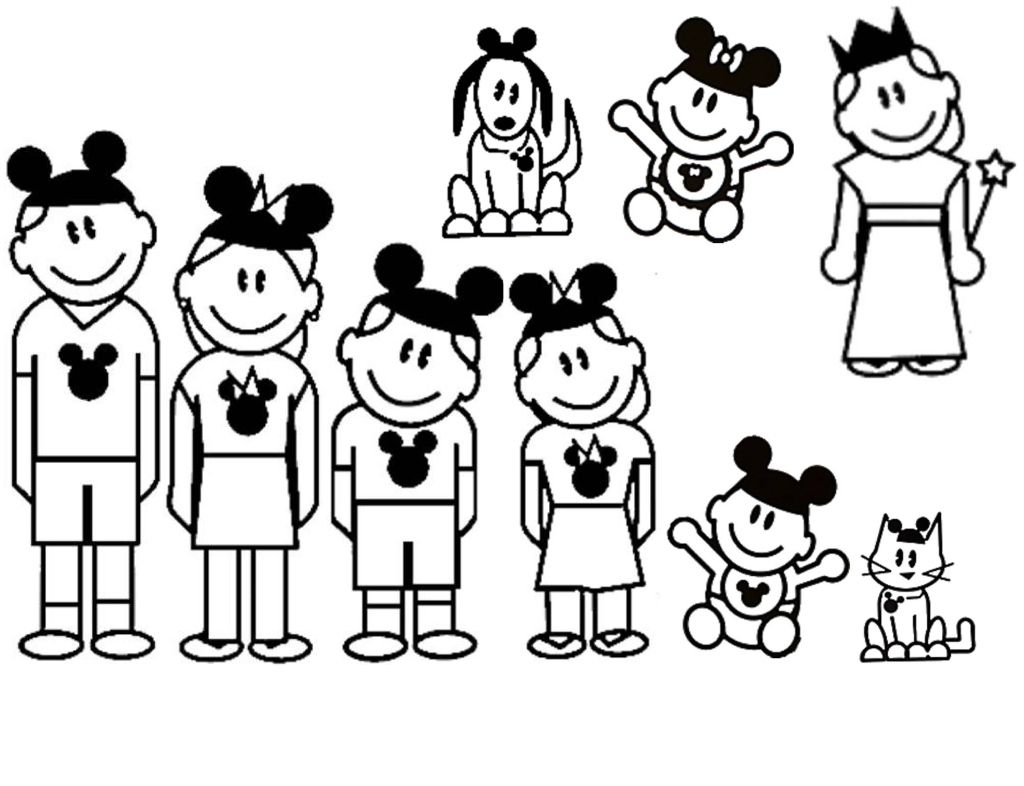 Mickey Ear Family Sticker Magnets