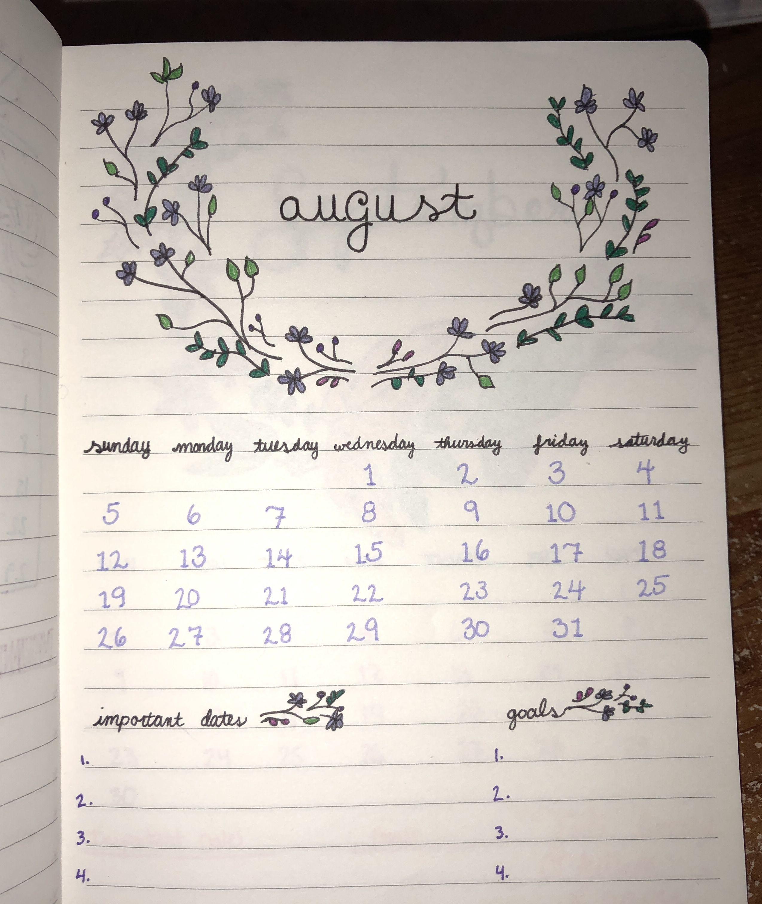 August Bullet Journal Calendar Layout