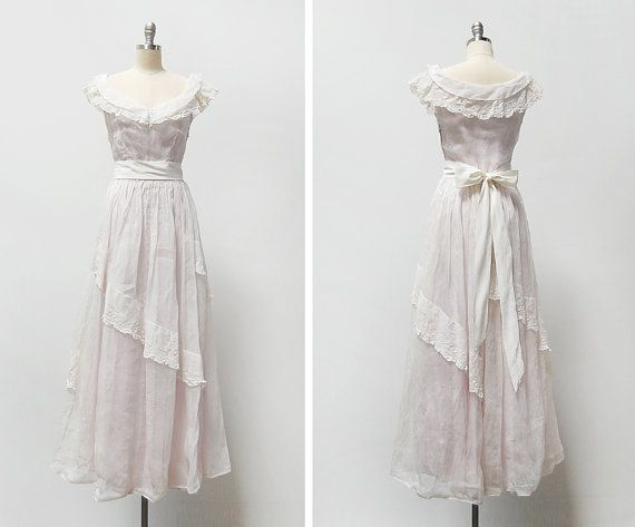 vintage 1930s dress / 1930s organdy dress / 1930s maxi dress ...