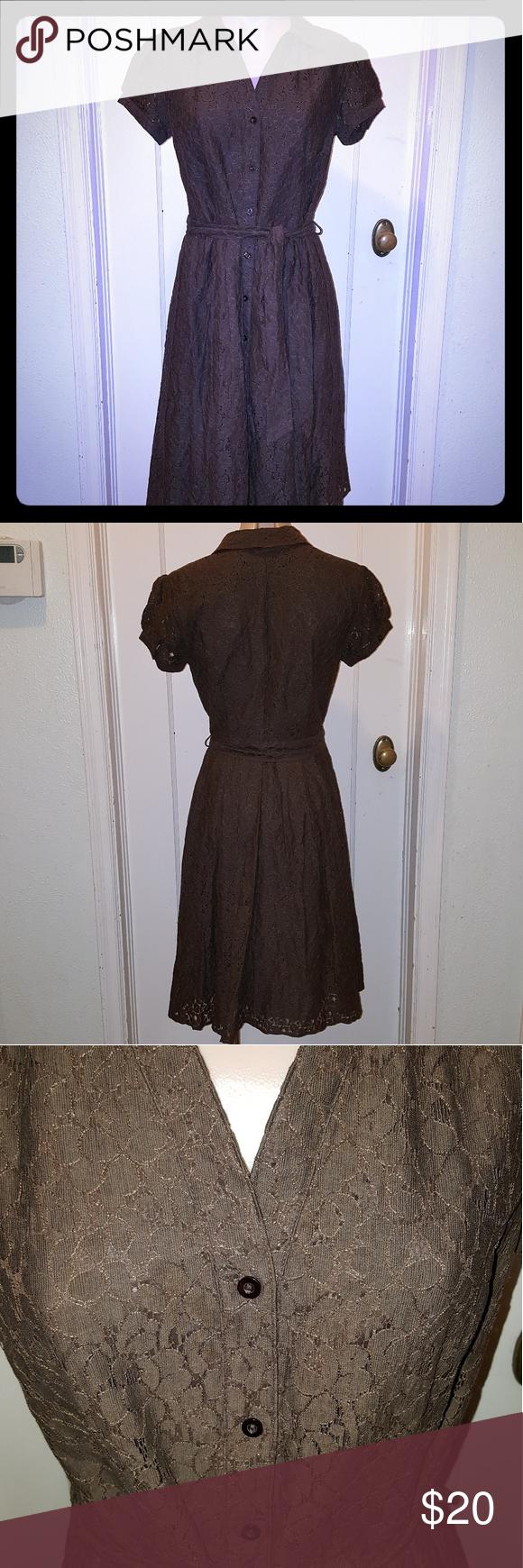 Apt dark brown lace dress belt tying dark brown and classic style