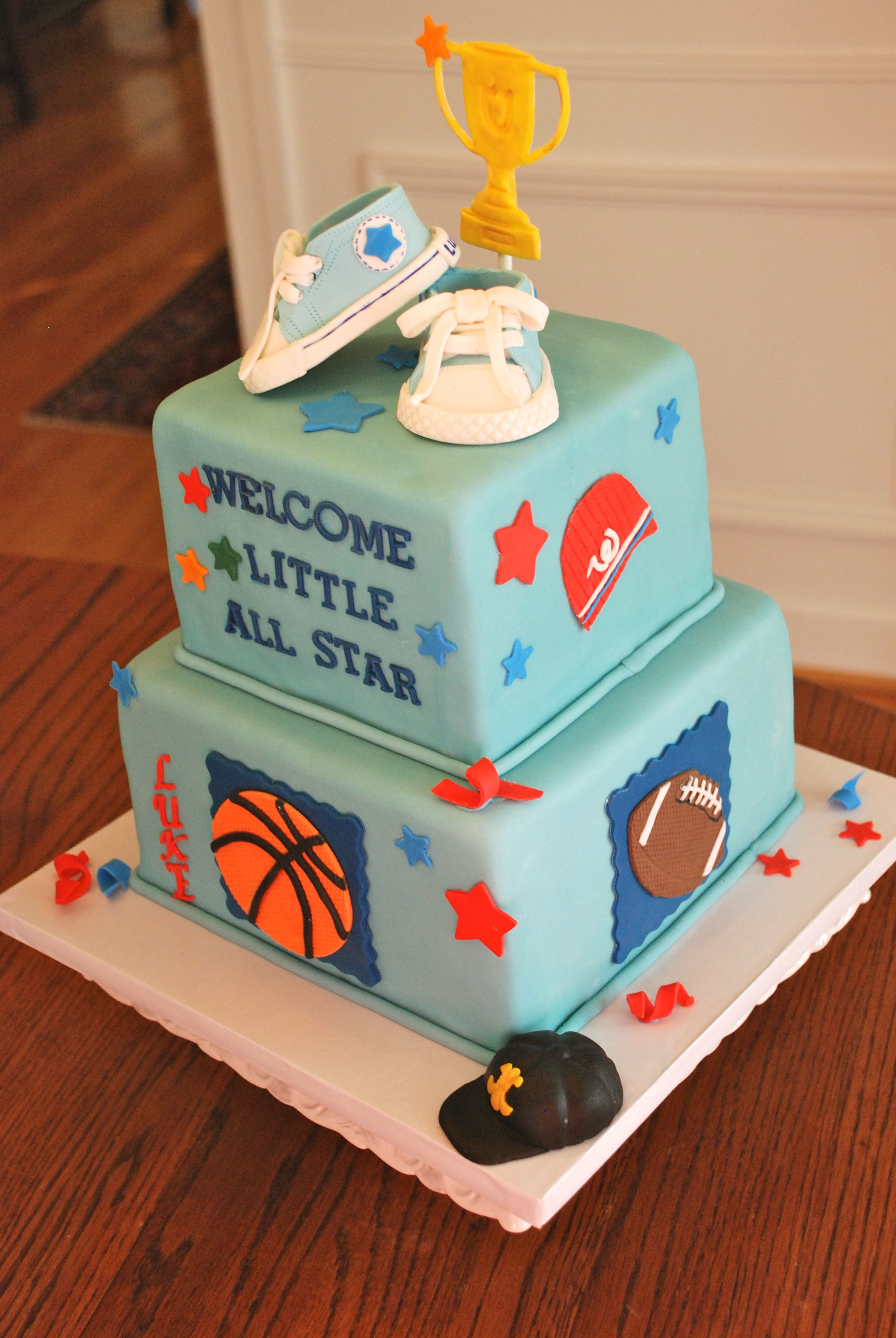 Little All Star Baby Shower Cake With Asst Sports Themes And Baby Keds Baby Boy Sports Sports Baby Shower