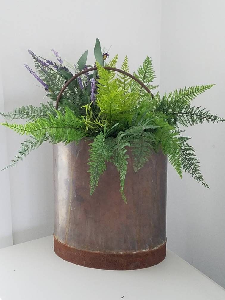 French Copper Metal Bucket Wall Pocket