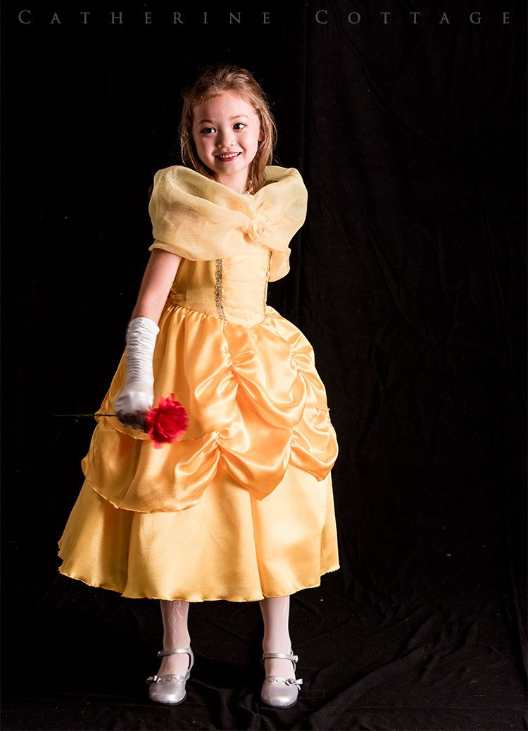 d608a15361db5 キッズ ベル風 ディズニー Dハロ 衣装 コスプレ プリンセス ゴージャス ドレス 黄色 美女と野獣 ハロウィン