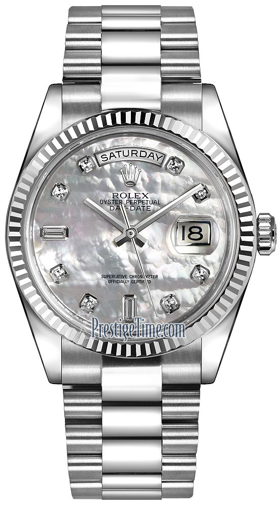 Rolex Day-Date 36mm White Gold Fluted Bezel 118239 White MOP Diamond  President bde8455402