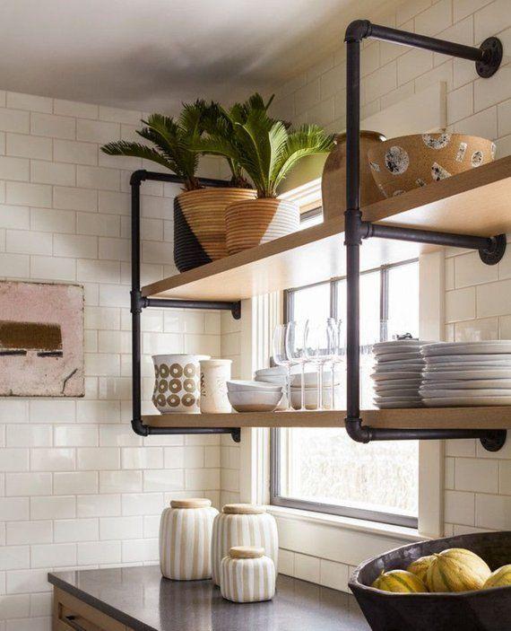 Photo of Wall Shelf Unit 10″ deep extra long. Industrial Rustic Farmhouse floating shelves. Kitchen open shelves, book case, coffe bar shelving unit