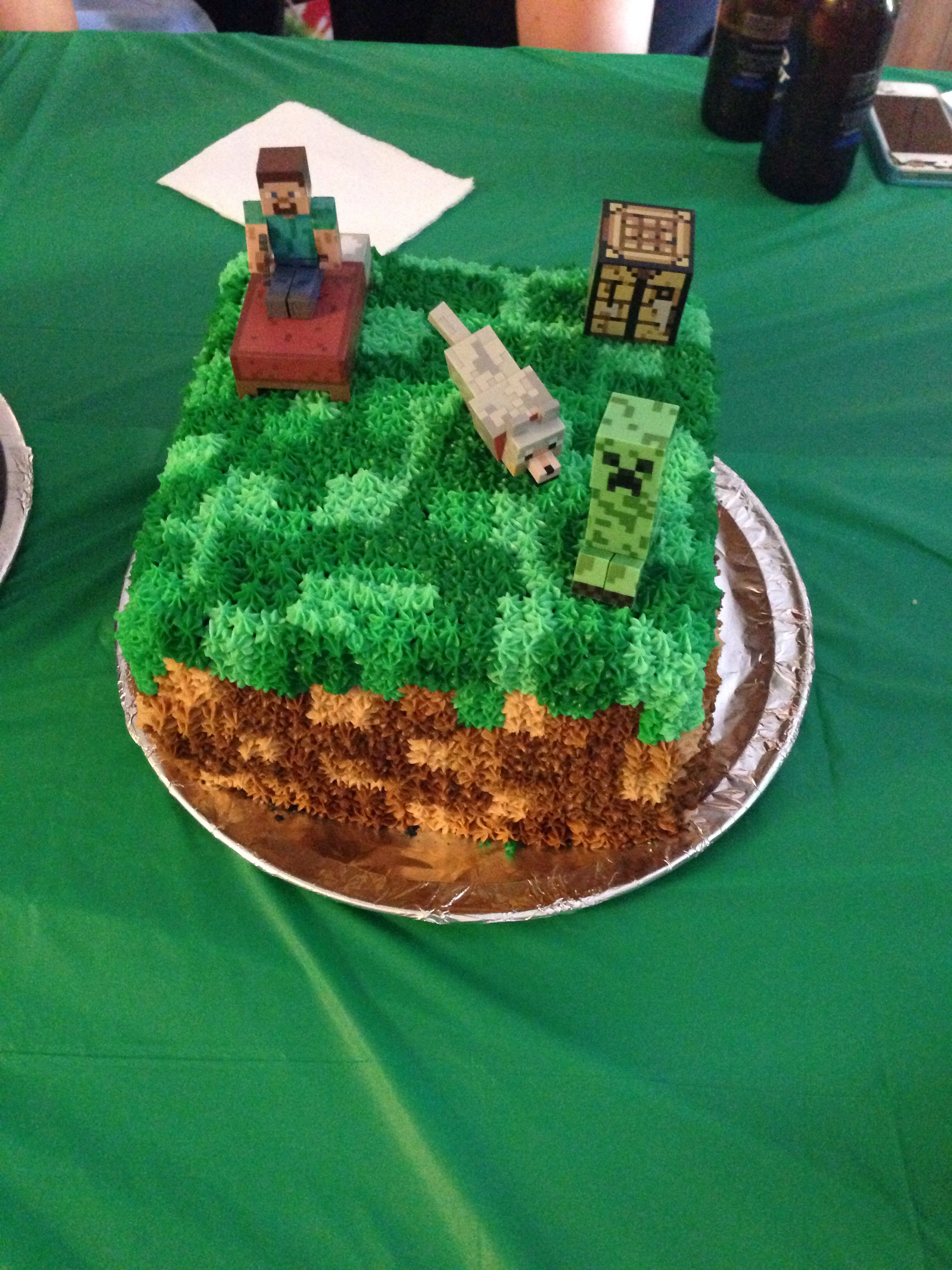 Minecraft Cake I Made For Aiden S 9th Birthday Triple Layer