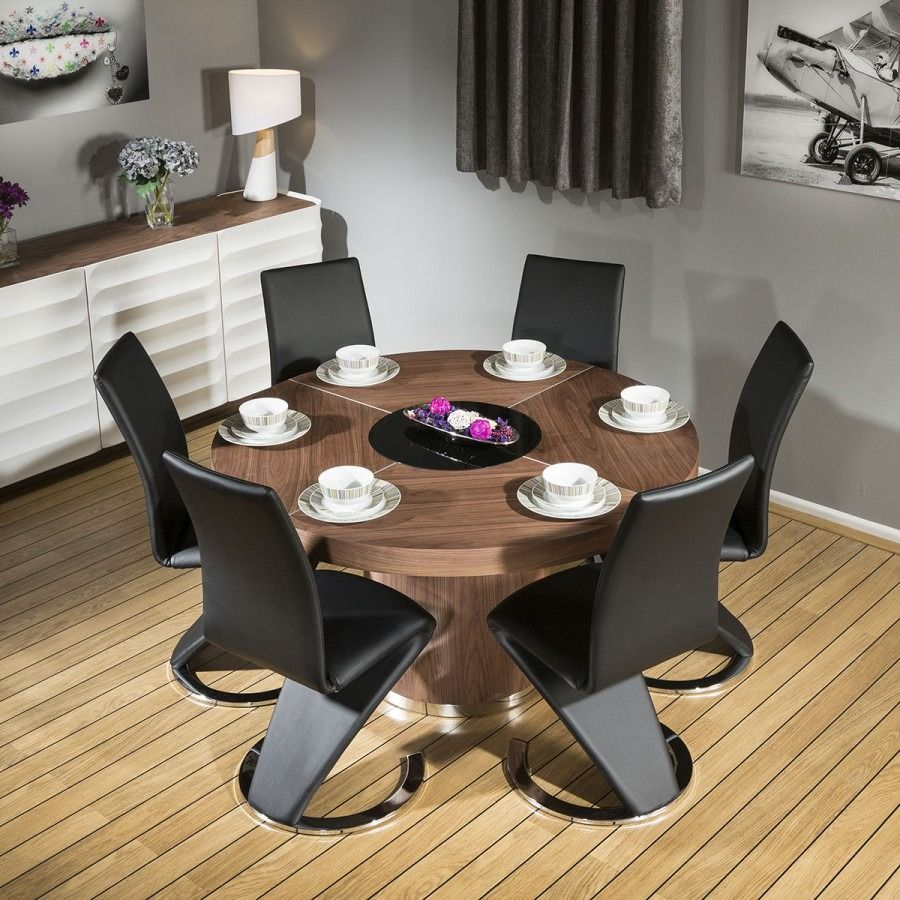 Round Walnut 1.4m Dining Table + 6 Black Faux Leather Z