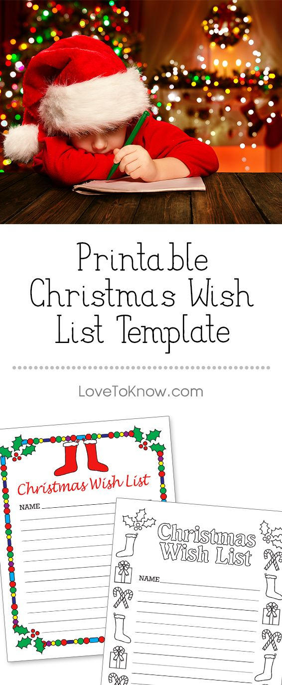 It's time for the kids to start filling out their wish lists for Santa. Make them even more interesting and fun to fill out with a printable that comes with stockings and holly that are already colored in, or choose to let the kids color their own festive border. | Printable Christmas Wish List Template from #LoveToKnow