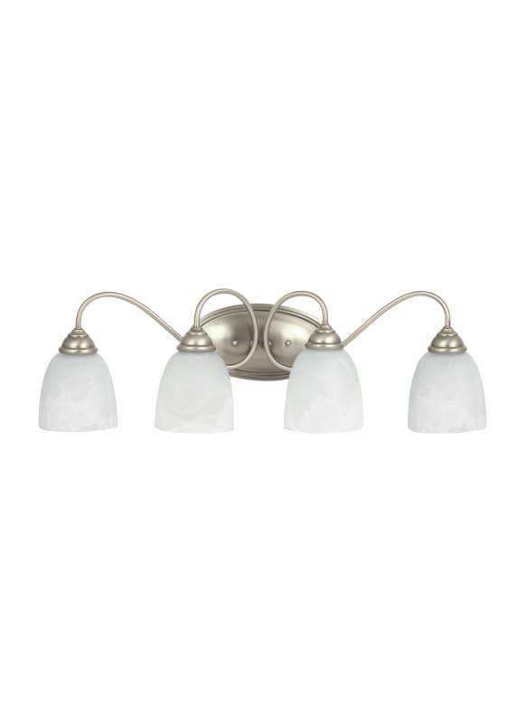 "Sea Gull Lighting 44319EN Lemont 4 Light 29"" Wide LED Bathroom Vanity Light with Antique Brushed Nickel Indoor Lighting Bathroom Fixtures Vanity Light"