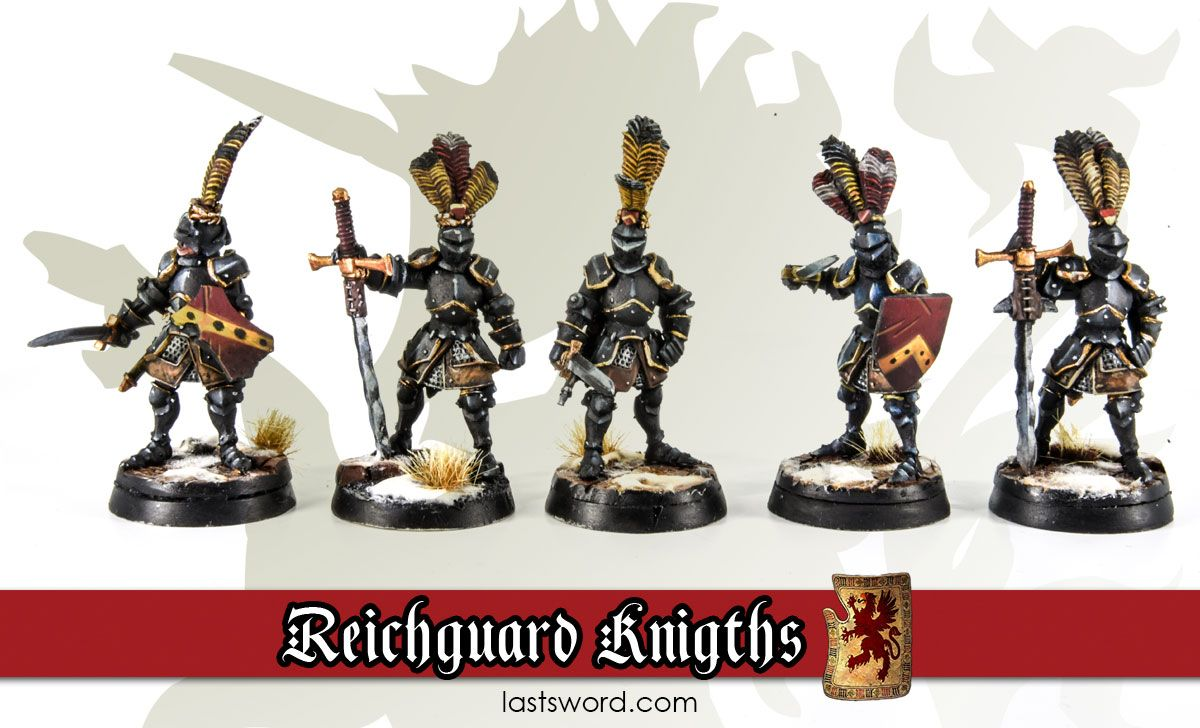 Reichguard foot knights painted by Renton. LastSword Miniatures.