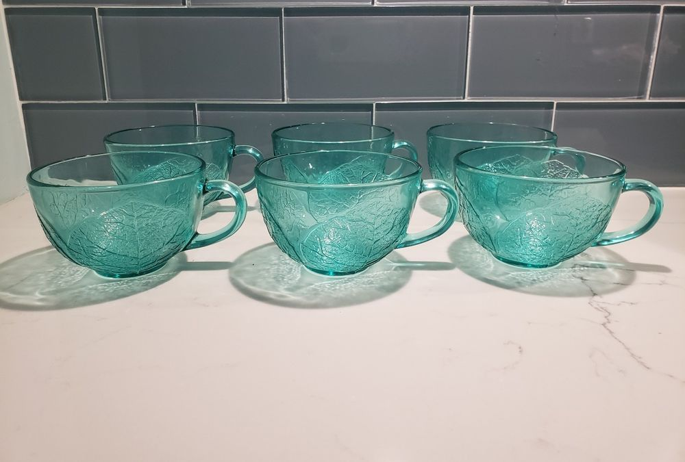 6 Arcoroc France Aspen Leaf Teal Green Cups EXCELLENT