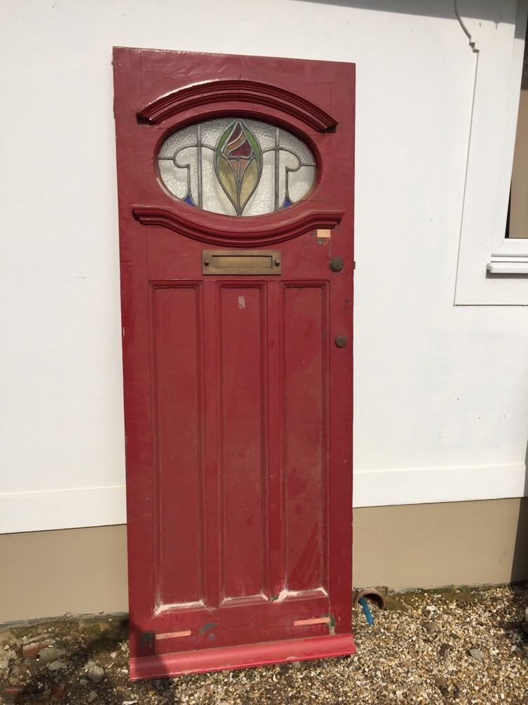 1930s FRONT DOOR ANTIQUE PERIOD OLD LEADED RECLAIMED ART DECO STAINED GLASS  WOOD