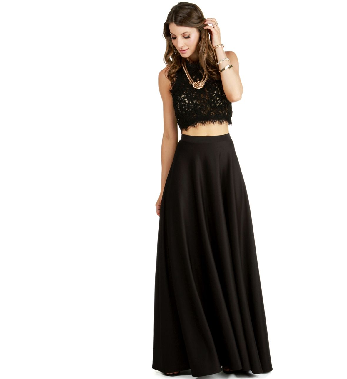 1a90a6b7bd Black Grand Scuba Maxi Skirt | blackss | Skirts, Fashion outfits ...