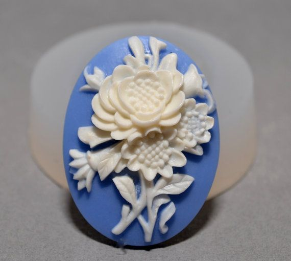 FLORAL CAMEO  silicone mould Cupcake polymer clay chocolate resin fimo mold