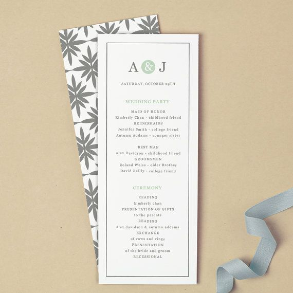 Printable Wedding Program Template | INSTANT DOWNLOAD | Mint Type ...