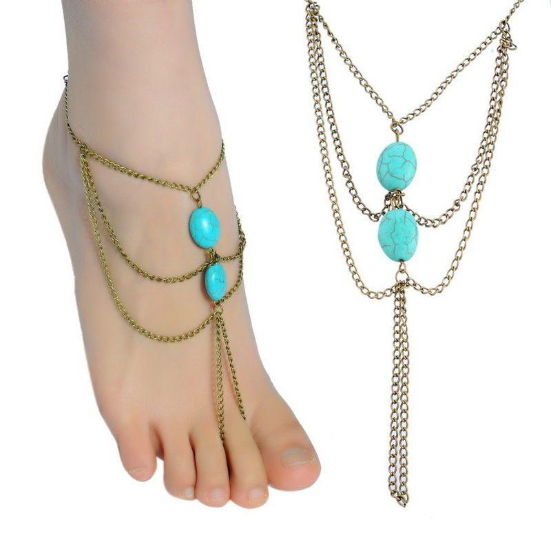 Bohemian Turquoise Toe Ring Anklet   SKU: 0077  $15.00