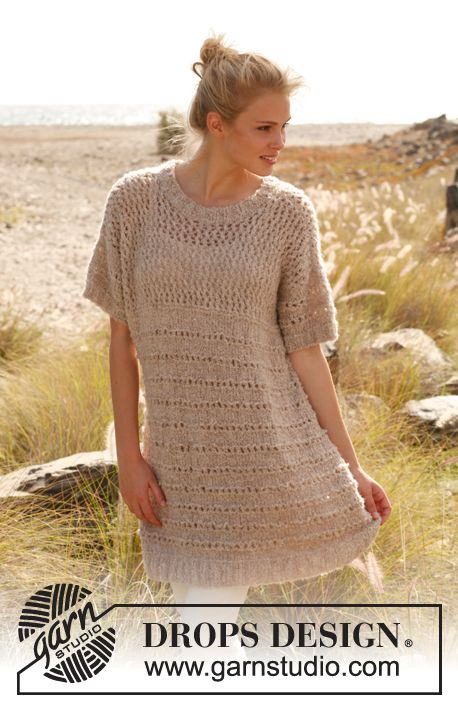 "Breeze - Strikket DROPS tunika i ""Alpaca Bouclé"". Str S - XXXL ..."