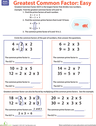 Greatest Common Factor Easy Worksheets, Factors and Math