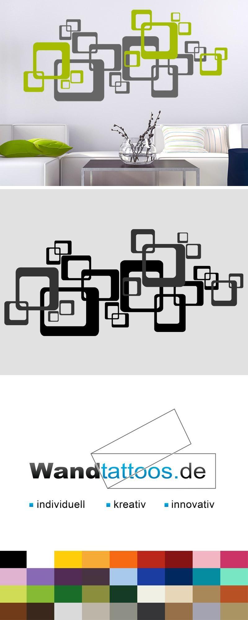 Wandtattoo ornament retro quadrate zweifarbig en 2019 k for Wandgestaltung zweifarbig