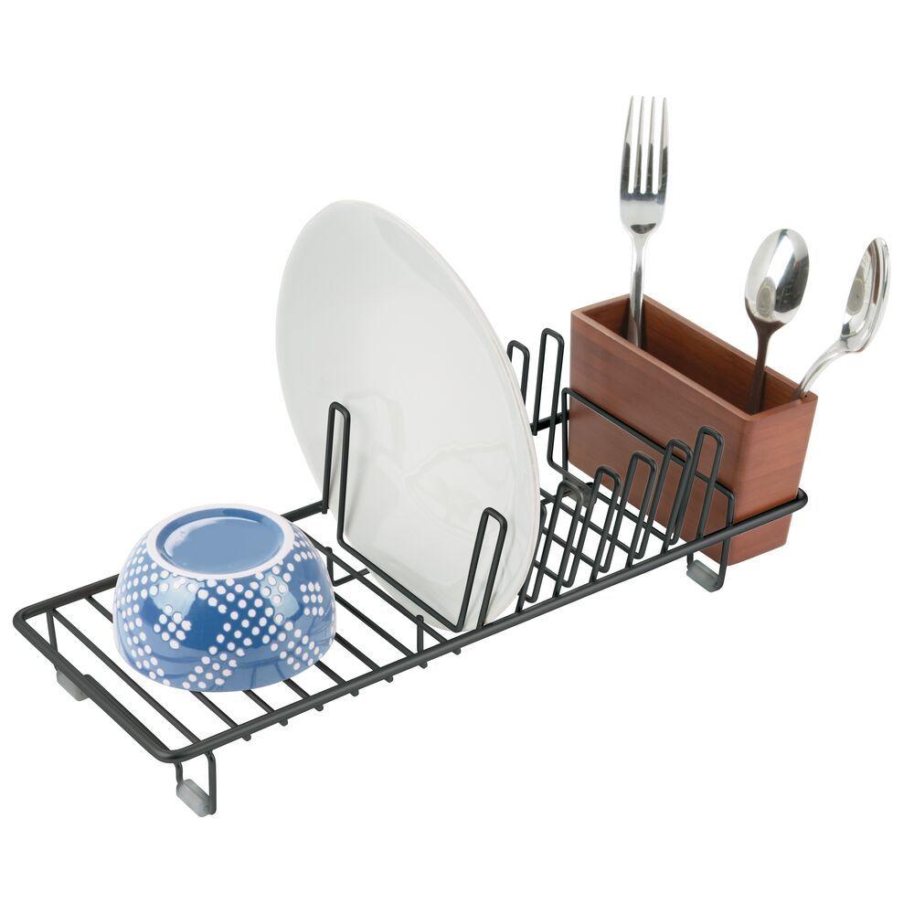 Compact Metal Bamboo Kitchen Sink Dish Drying Rack Kitchen