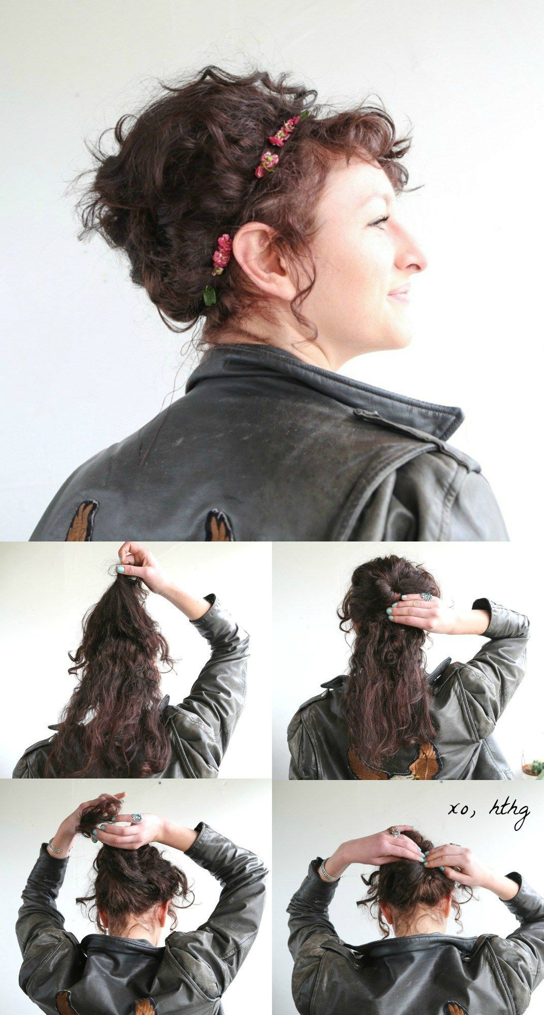 Use a comb to create an easy French twist topped with a sprig of curls.