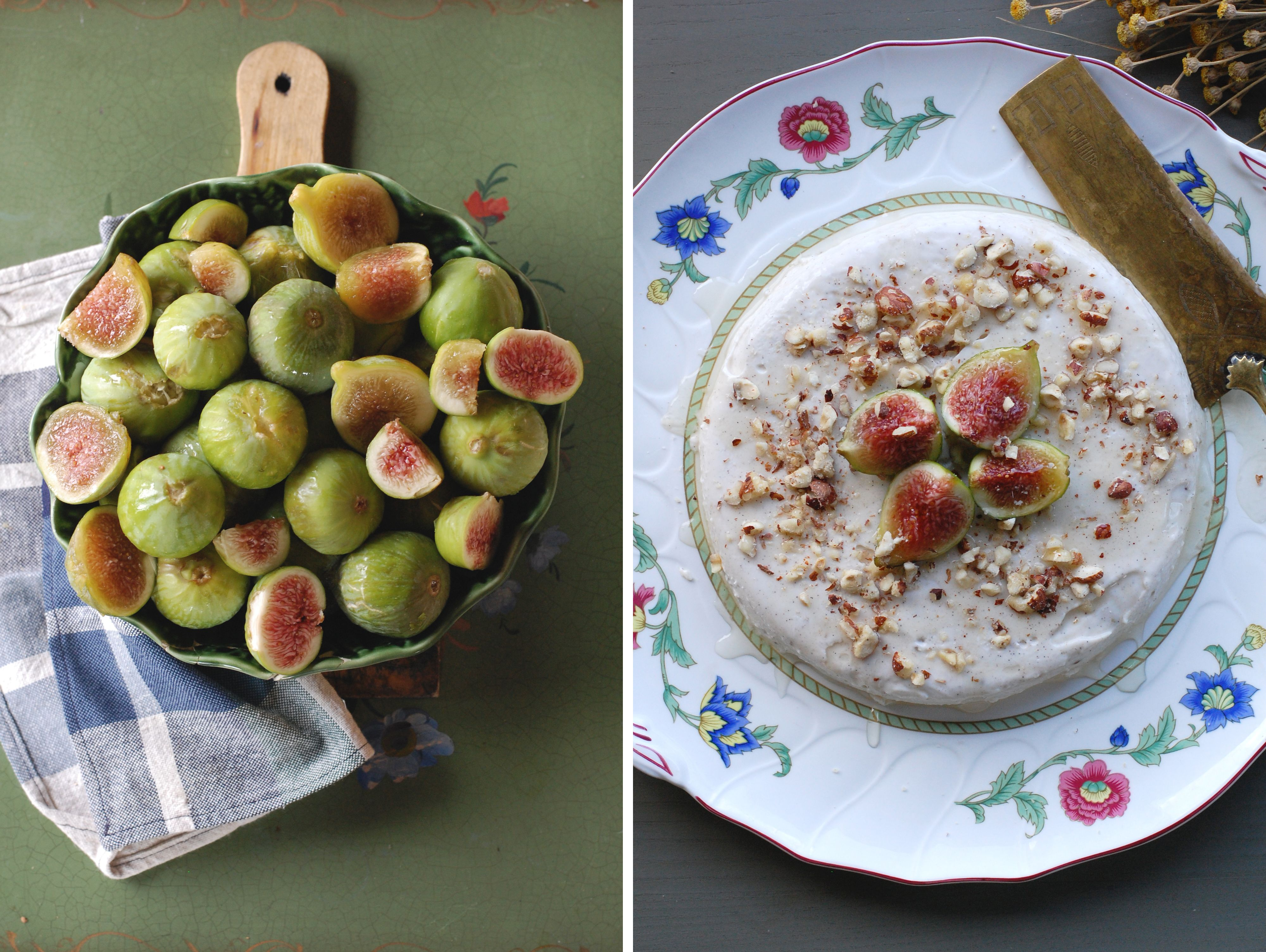 Figs / Panna Cotta with honey and nuts