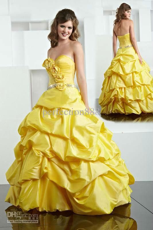 Cheap yellow ball gown quinceanera dress wedding gown prom for Yellow wedding dresses for sale