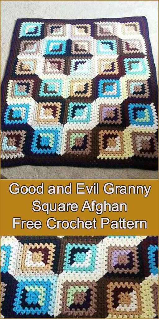 Good And Evil Granny Square Afghan Free Crochet Pattern Crochet