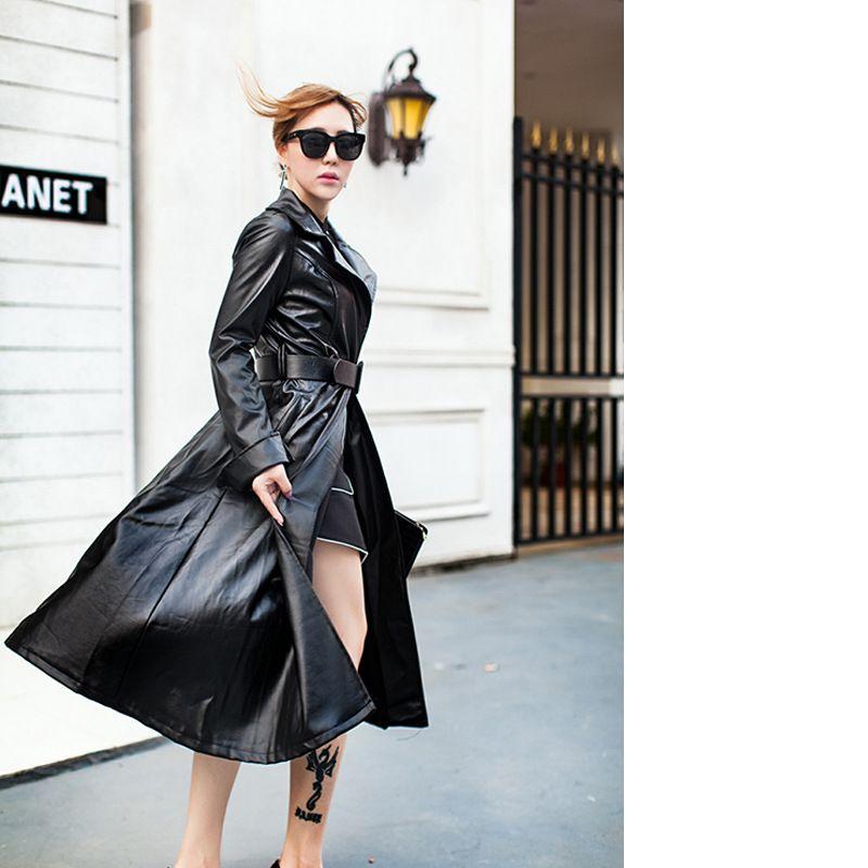 ABRIGO DE CUERO LARGO MUJER  abrigo  chaquetadecuero  cuero  largo  mujer 3da00af4046b