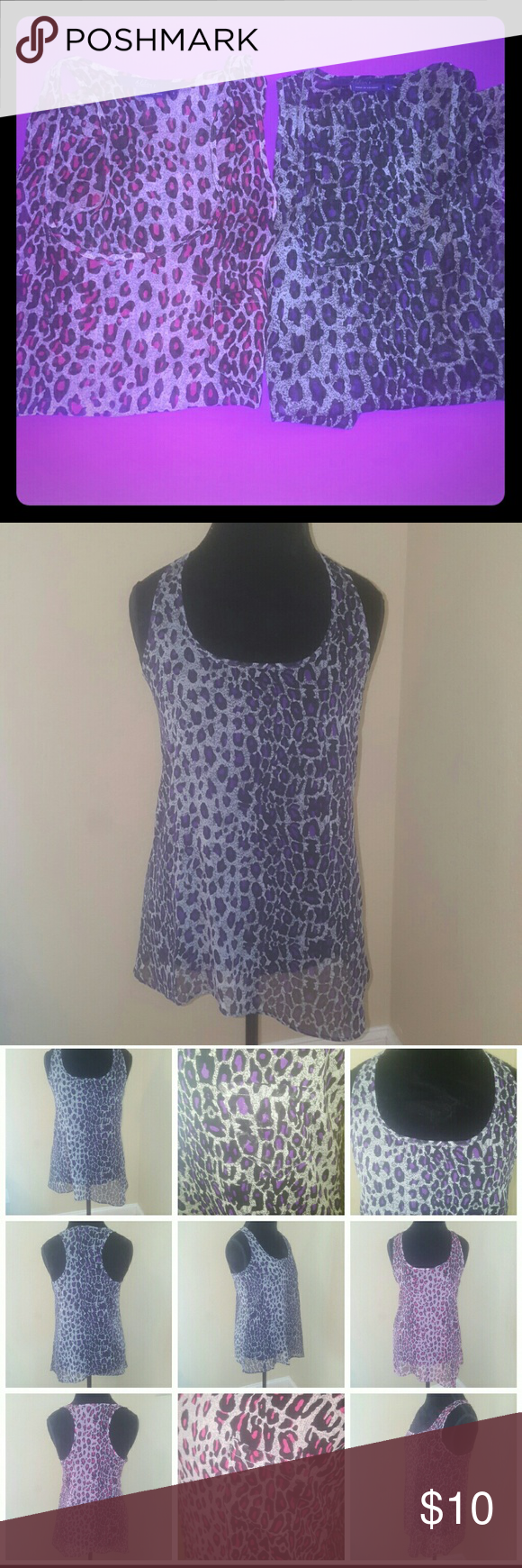 2 Sleeveless Sheer Asymmetrical Tanks NWOT Bundle of 2 Sleeveless Animal Print Sheer Asymmetrical Tanks. Size Large in Juniors. By Miley Cyrus. 1 pink & 1 purple. 100% Polyester. These look great with a black tank & leggings. Both NWOT. No holes, rips, stains, piling, loose threads, etc. Very pretty. Miley Cyrus  Tops Tank Tops