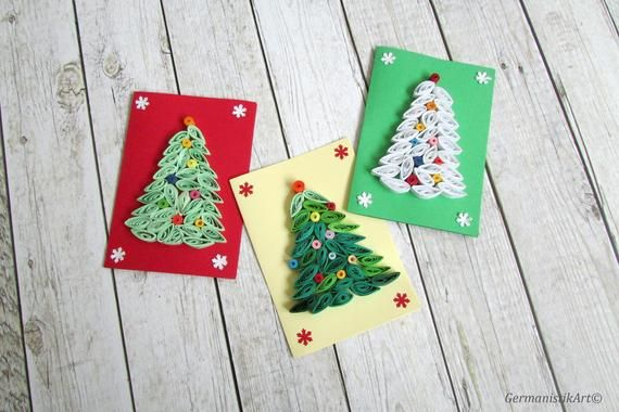 christmas mini cards in red green and soft yellow size