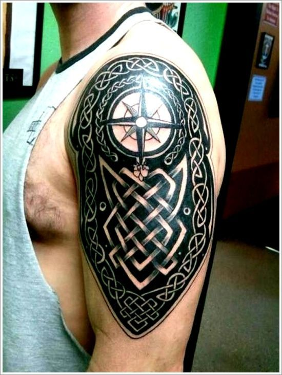 Awesome Celtic Compass Tattoo On Left Half Sleeve For Men Jeremy