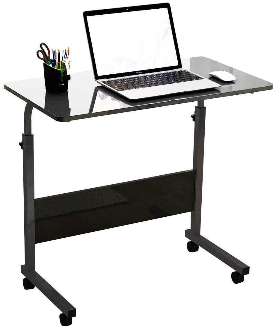 Amazon Com Dlandfurniture Mobile Side Table 31 5 Inches Tablet Wheels Mobile Laptop Adjustable Computer Stand Adjustable Height Desk Adjustable Computer Desk
