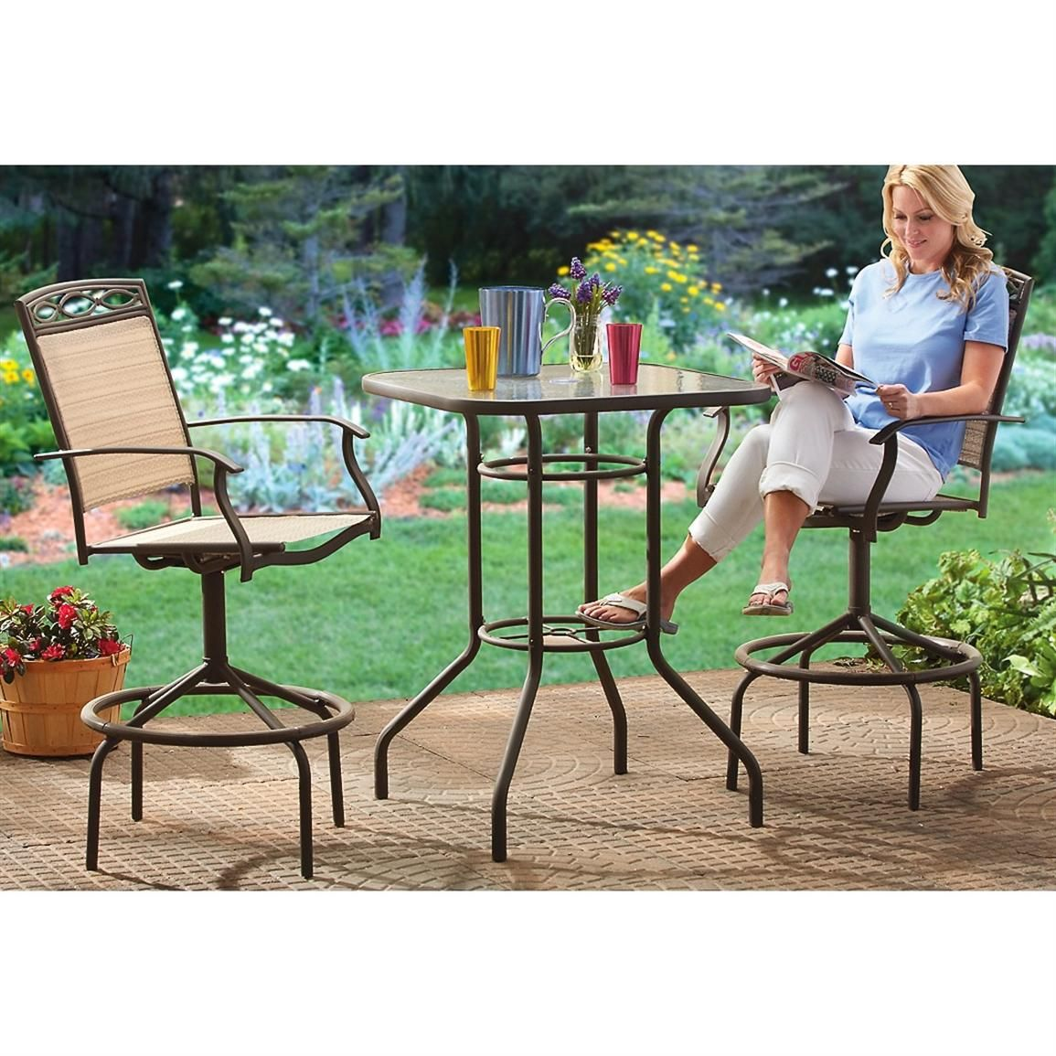 Stylish 3 Pc Bar Height Patio Set Adds A Handsome Accent To Your