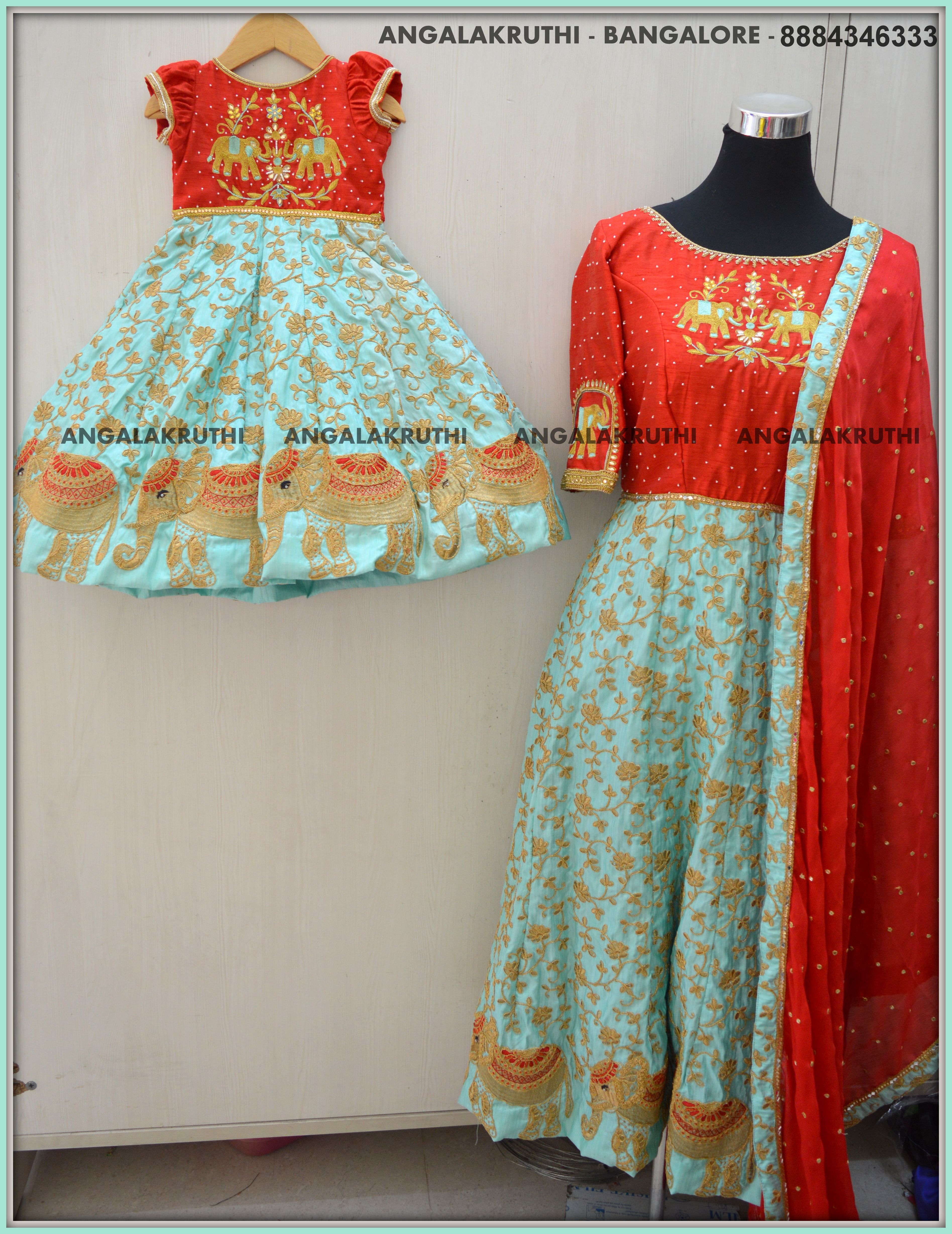 Mom N Me Design With Rich Hand Embroidery By Angalakruthi Mom And
