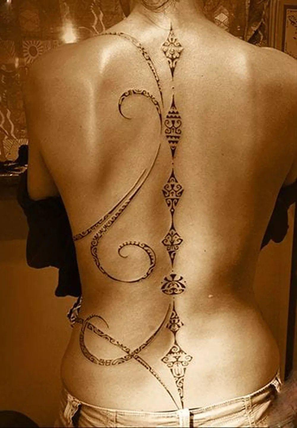 spine tattoo | body art | spine tattoos, tribal tattoos, back tattoo