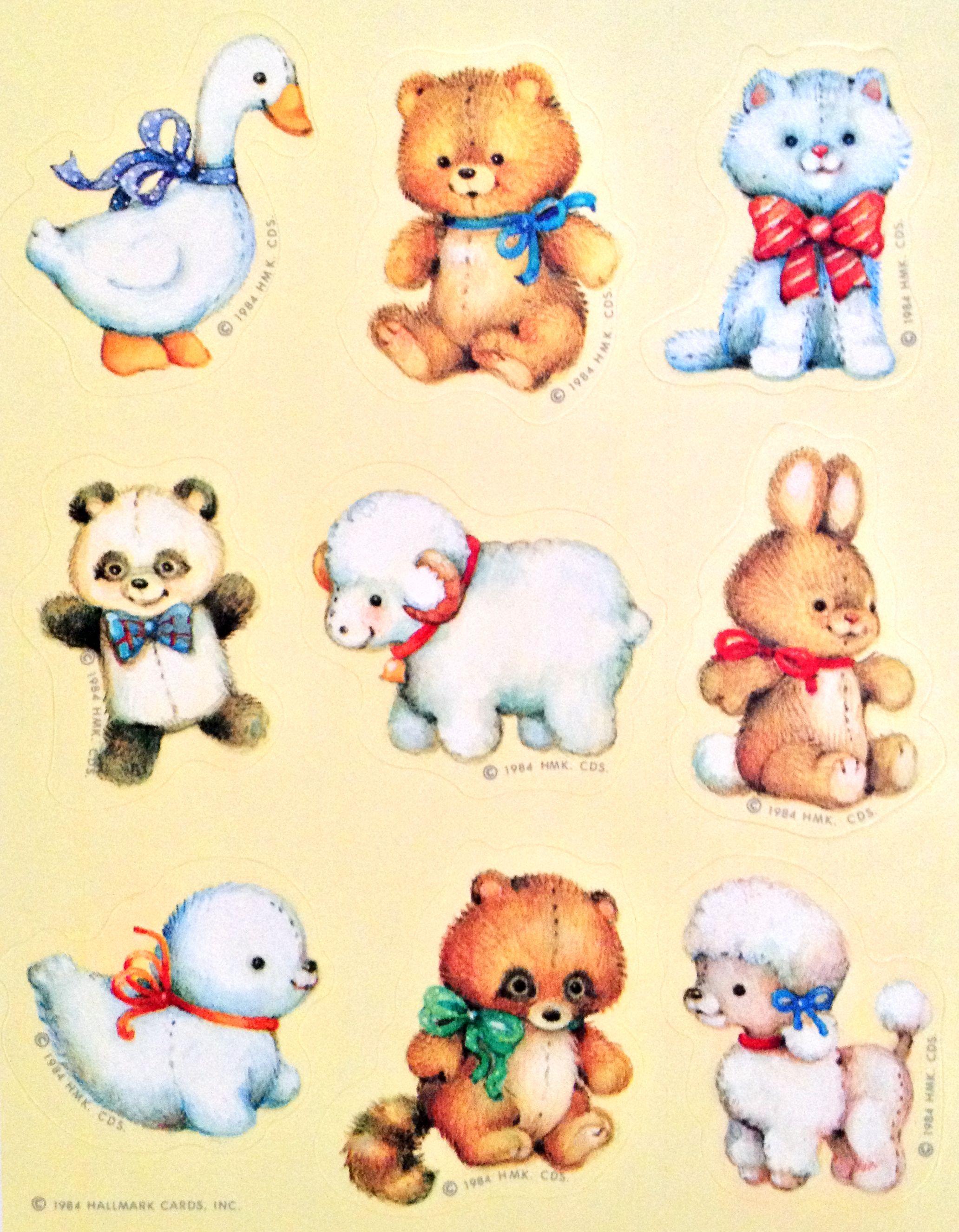 Hallmark Stuffed Animal Stickers Cute StickersAnimal IllustrationsVintage