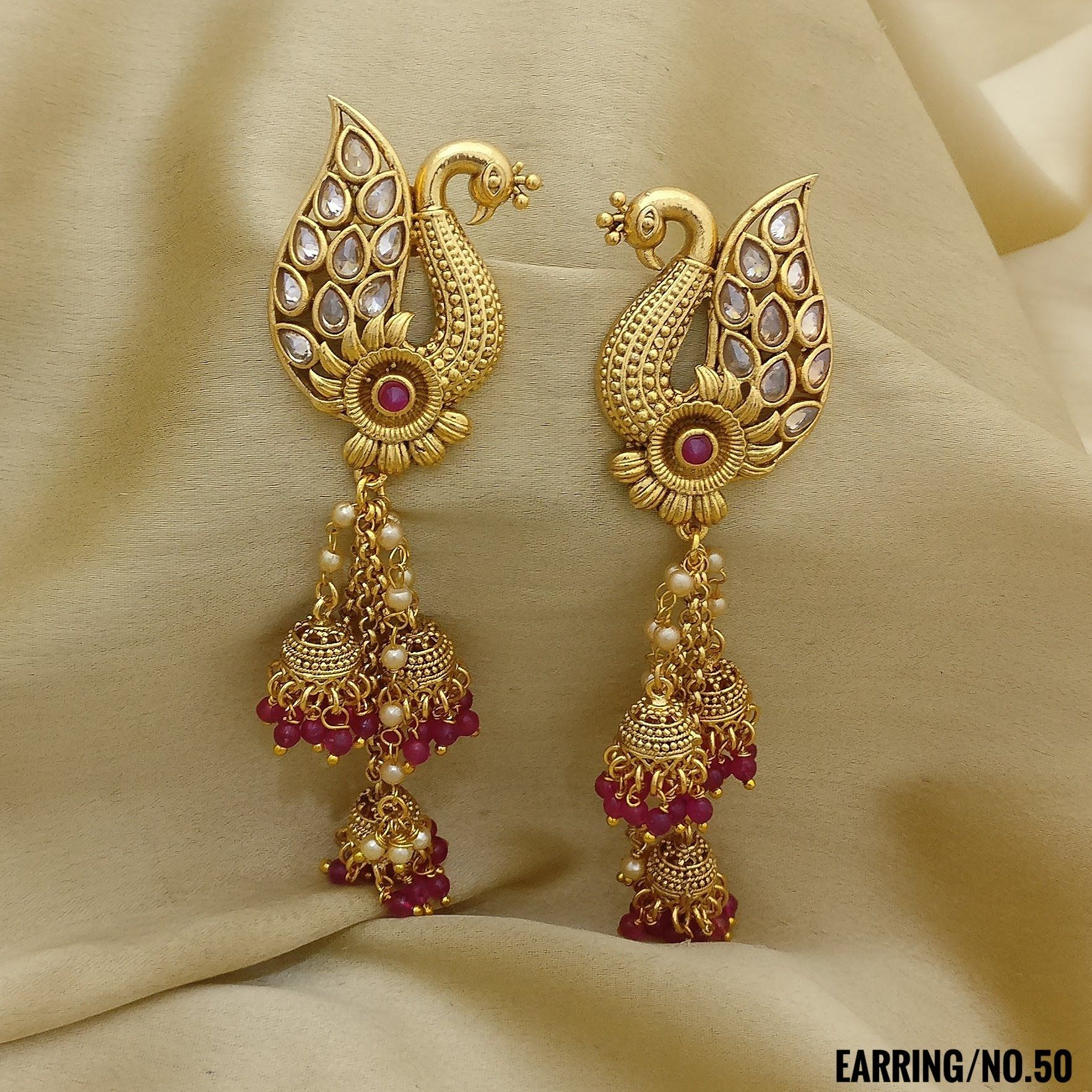Rasrava Antique Polki Earrings Peacock With Jhumki Style Earrings
