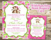 Monkey Baby Shower Invitation, Baby Shower Invitation, Baby Shower Girl Monkey Invitation, Monkey Book Request Card